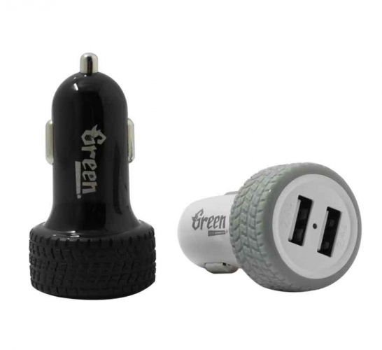 Green | 24W 2 USB Port 4.8A | Car Charger GR-CC-480