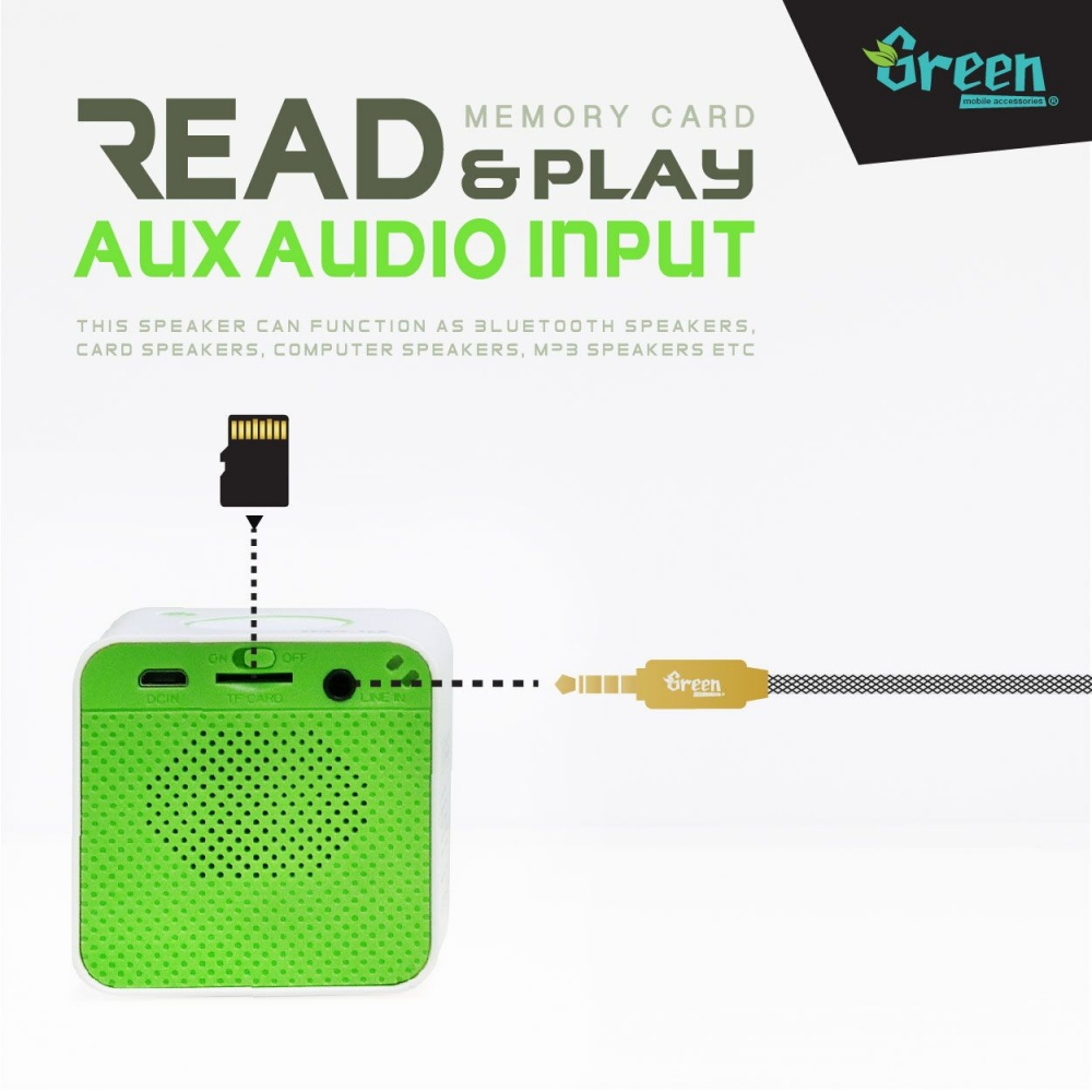 Green | Music Cube M5 | Bluetooth Speaker BT-SPK-GR-M5