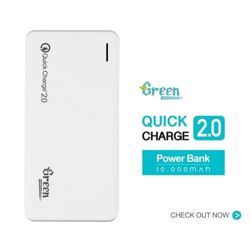Green | Quick Charge 2.0 10,000mAh 2 USB Port | Power Bank GR-PBQC100