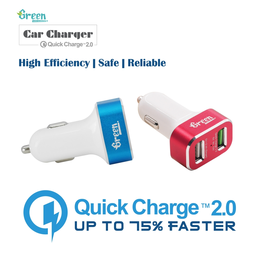 Green | Quick Charge 2.0 30W 2 USB Port | Car Charger (White) GR-CC-QC20