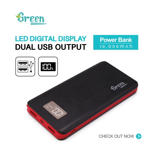 Green | Digital Display 10,000mAh 2 USB Port | Power Bank GR-PBD100