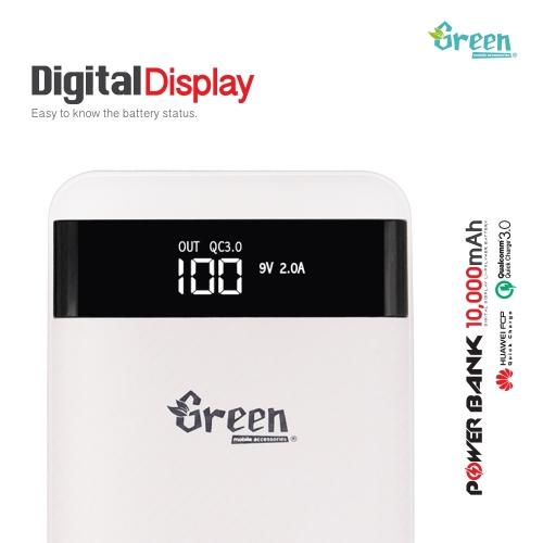 Green | Quick Charge 3.0 10,000mAh 2 USB Port | Power Bank GR-PBQC200