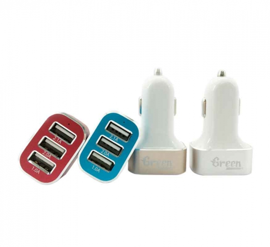 Green | 25.5W 3 USB Port 5.1A | Car Charger (White) GR-CC-510