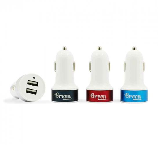 Green | 10.5W 2 USB Port 2.1A | Car Charger GR-CC-210