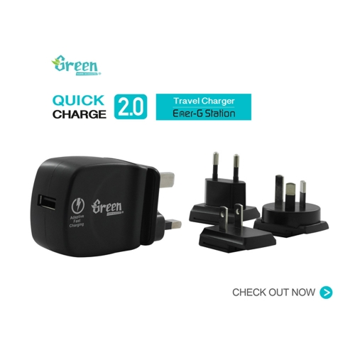 Green | Quick Charge 2.0 | Exchangeable AC Plugs Travel Charger GR-QC30