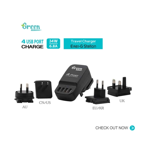 Green | 34W 4 Port USB 6.8A | Exchangeable AC Plugs Travel Charger GR-PA-4U